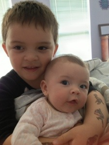 Sweet Tyler and precious baby Stella! Big brother loves his little sister!